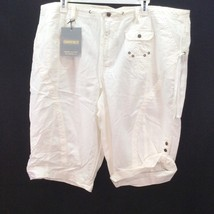 Lane Bryant Capris Crop Pants Venezia Size 28 Capri White Linen Blend NWT - $22.72