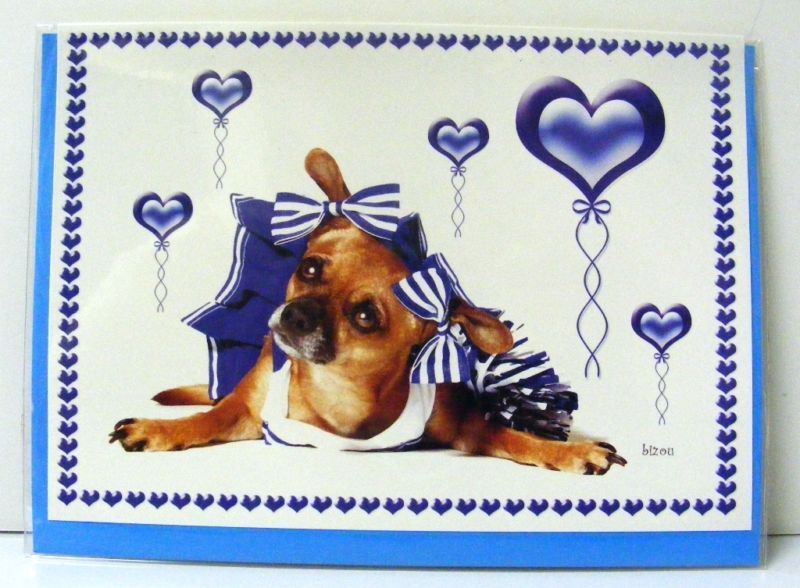 Primary image for 5 CHIHUAHUA DOG CHEERLEADER GREETING CARDS NEW BLANK