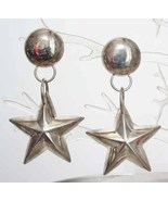 Art Moderne 80s Stunning Silvertone Star Earrings - $8.95