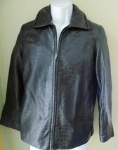Talbots Brown Lined Leather Zip Front  Jacket Womens sz Small Petite EUC - $36.62