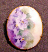 Antique China Painting Porcelain Brooch Pin Violets Flowers Gold Trim Lo... - $24.26