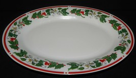 St Maria Lynns Fine China Oval Serving Platter Christmas Holly Berry Red... - $32.66