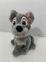"""Disney Store Lady and the TRAMP small 6"""" gray puppy dog beanbag plush - $6.92"""