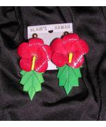 Red Hibiscus Hawaiian Clip-On Wood Earrings Blair's - $19.26