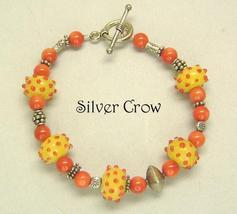 Sterling Silver Yellow Orange Lampwork Mt. Jade Bracelet - $20.99