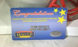 TOM BRADY / AUTOGRAPHED NEW ENGLAND PATRIOTS LOGO MINI HELMET / MOUNTED MEMORIES image 7