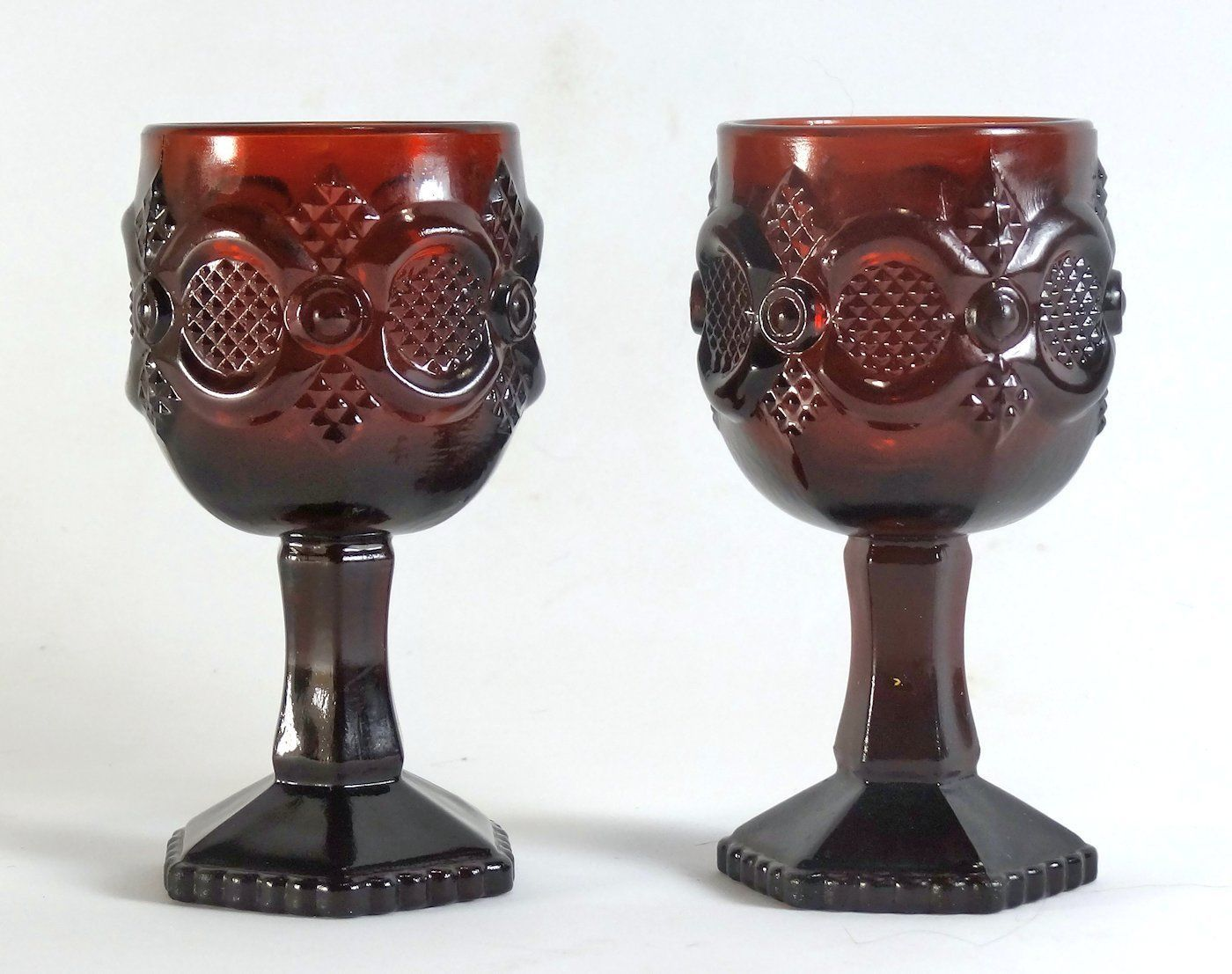 Avon Cape Cod Royal Ruby 4 1/2 Inch Goblet Pair