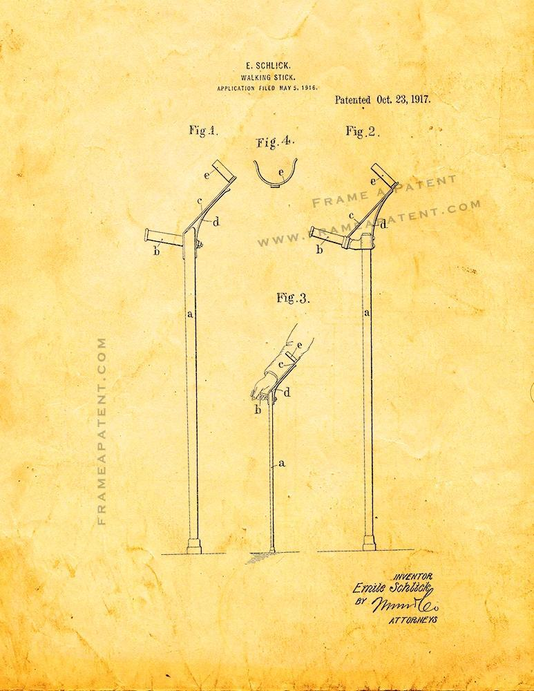 Primary image for Walking-stick Patent Print - Golden Look