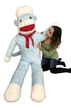 6 Foot Giant Sock Monkey Blue Color Soft Huge Stuffed Animal Made in USA... - $247.11