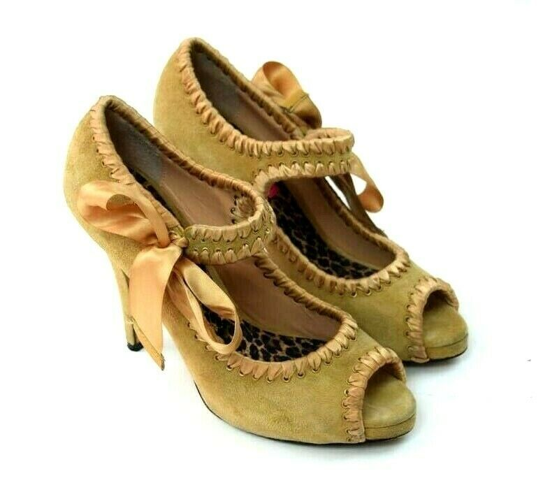 Primary image for Betsey Johnson Golden Tan Suede Leather Mary Jane High Heel Pumps Shoes 7.5 M