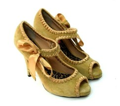 Betsey Johnson Golden Tan Suede Leather Mary Jane High Heel Pumps Shoes ... - $54.44