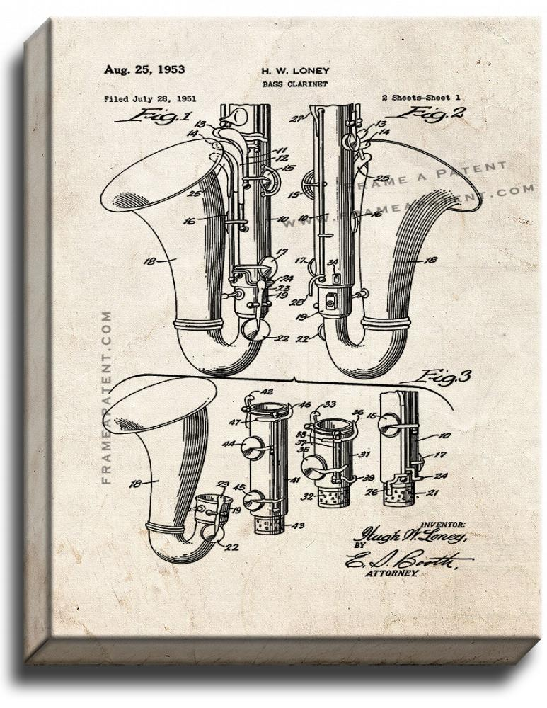 Primary image for Bass Clarinet Patent Print Old Look on Canvas