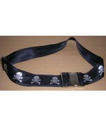 Skull Crossbones Skeleton Black Fabric Belt Goth Punk Pirates Halloween - $27.53