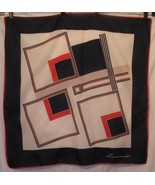Leonardi Red White Blue Geometric Print Scarf 31 Square - $34.25