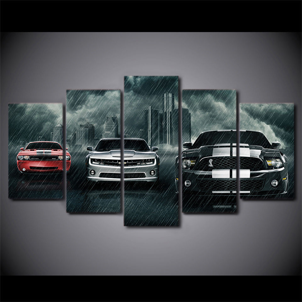 Large Framed Ford Mustang Cobra Muscle Car Canvas Print Wall Art Home Decor