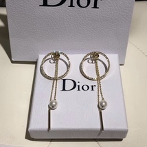 AUTH Christian Dior 2019 CD LOGO LARGE CIRCLE HOOP DANGLE PEARL DROP Earrings image 4