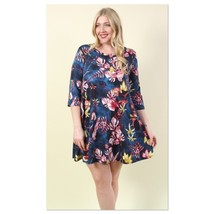 New Plus Size 3X Bird & Branch Printed Flare Dress USA Sizing Curvy Flor... - $20.69