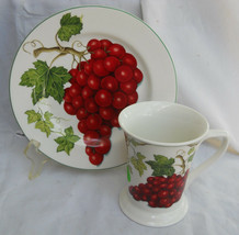 American Atelier Vineyard 5039 Mug Salad Plate Red Grapes 2 Pc - $21.03