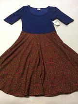 NWT Lularoe Nicole XL Blue Colorblock Rainbow Confetti Skirt Dress Extra... - $34.99