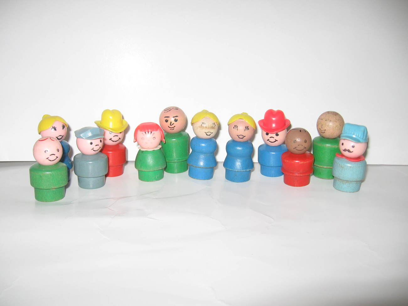 Vintage Wood Fisher Price Little People Lot