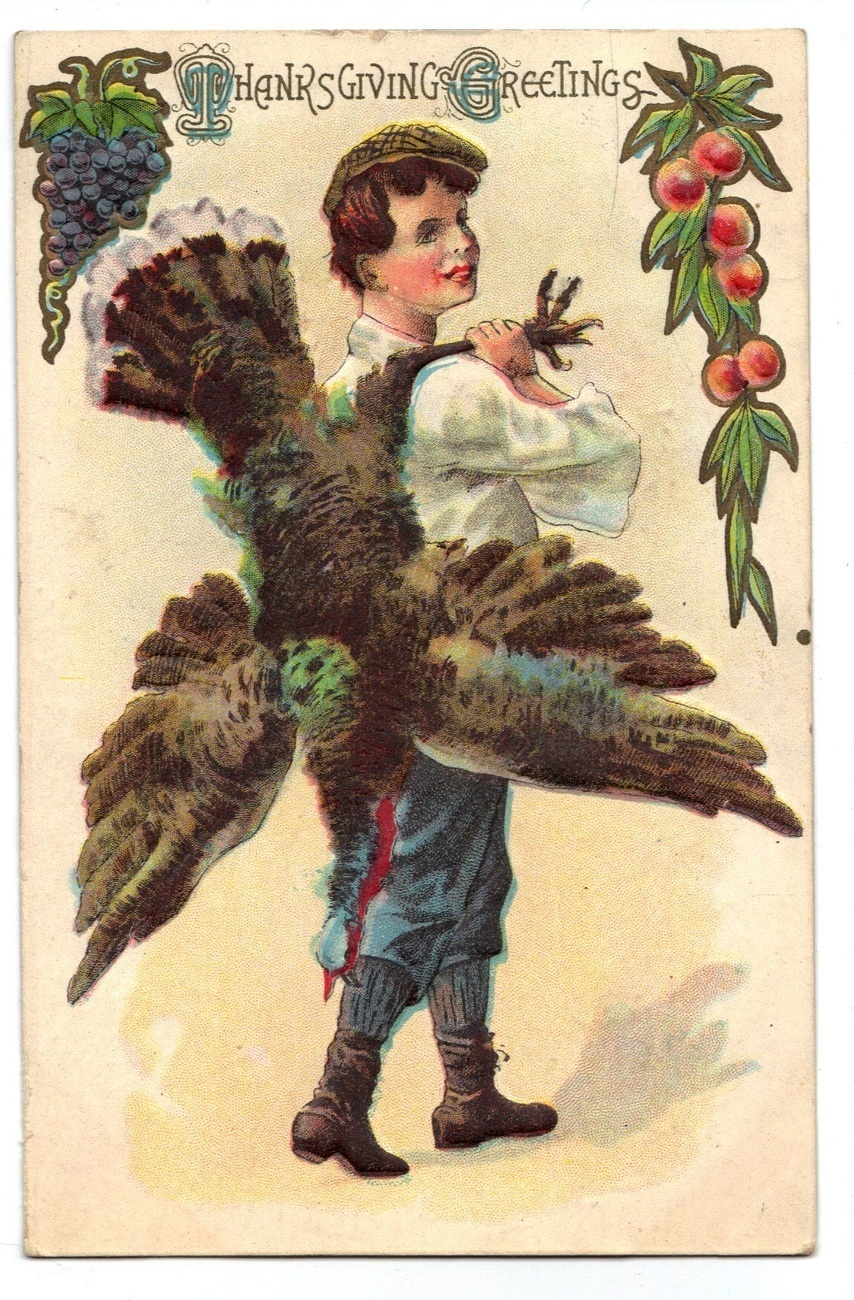 Vintage Thanksgiving Postcard Boy Carrying Turkey