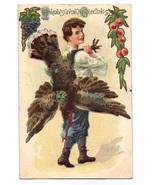 Vintage Thanksgiving Postcard Boy Carrying Turkey - $12.95