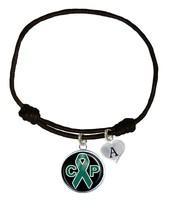Custom Cerebral Palsy Awareness Black Leather Unisex Bracelet Jewelry Pick Charm - $13.94
