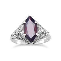 .925 Sterling Silver Oxidized Garnet Women's Ring - $48.41