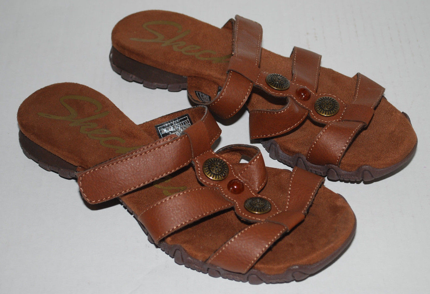 Skechers Sandals Womens 6.5 Brown Leather Open Toes Comfort Shoe Adornments