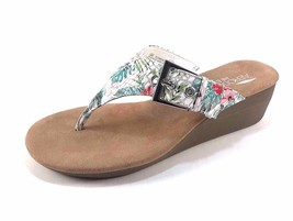 Aerosoles Flower White Floral Wedge Platform Thong Slip On Sandals - $41.30