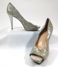 Gianni Bini Suede High Heel Pumps Leopard Print Silver Gray Size 8.5 M - $9.41