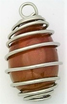 Carnelian Agate Egg Stainless Steel Spiral Wrap Pendant 3 - $11.93