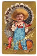 Vintage Thanksgiving Postcard Series No 1 Boy Turkey image 1