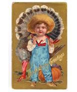 Vintage Thanksgiving Postcard Series No 1 Boy Turkey - $12.95