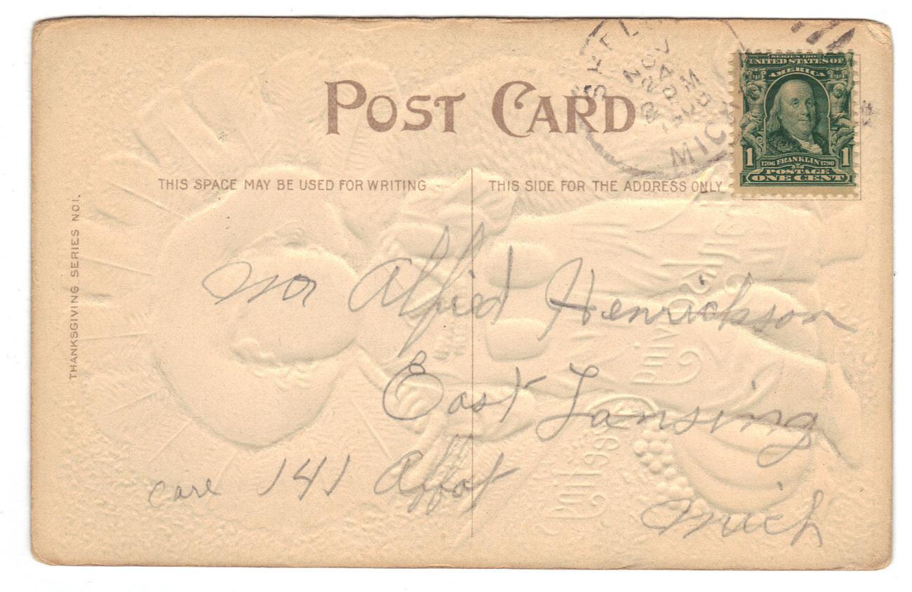 Vintage Thanksgiving Postcard Series No 1 Boy Turkey image 2