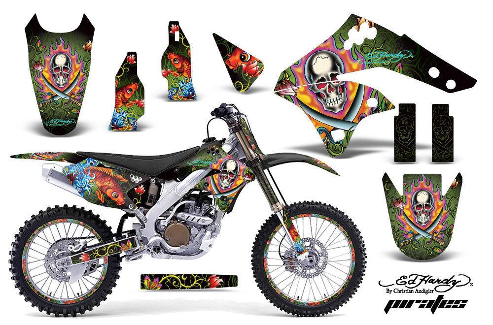 Grafik Kit Aufkleber Wrap + Kennzeichen für Kawasaki KX250F 2006-2008 Edhp Grün