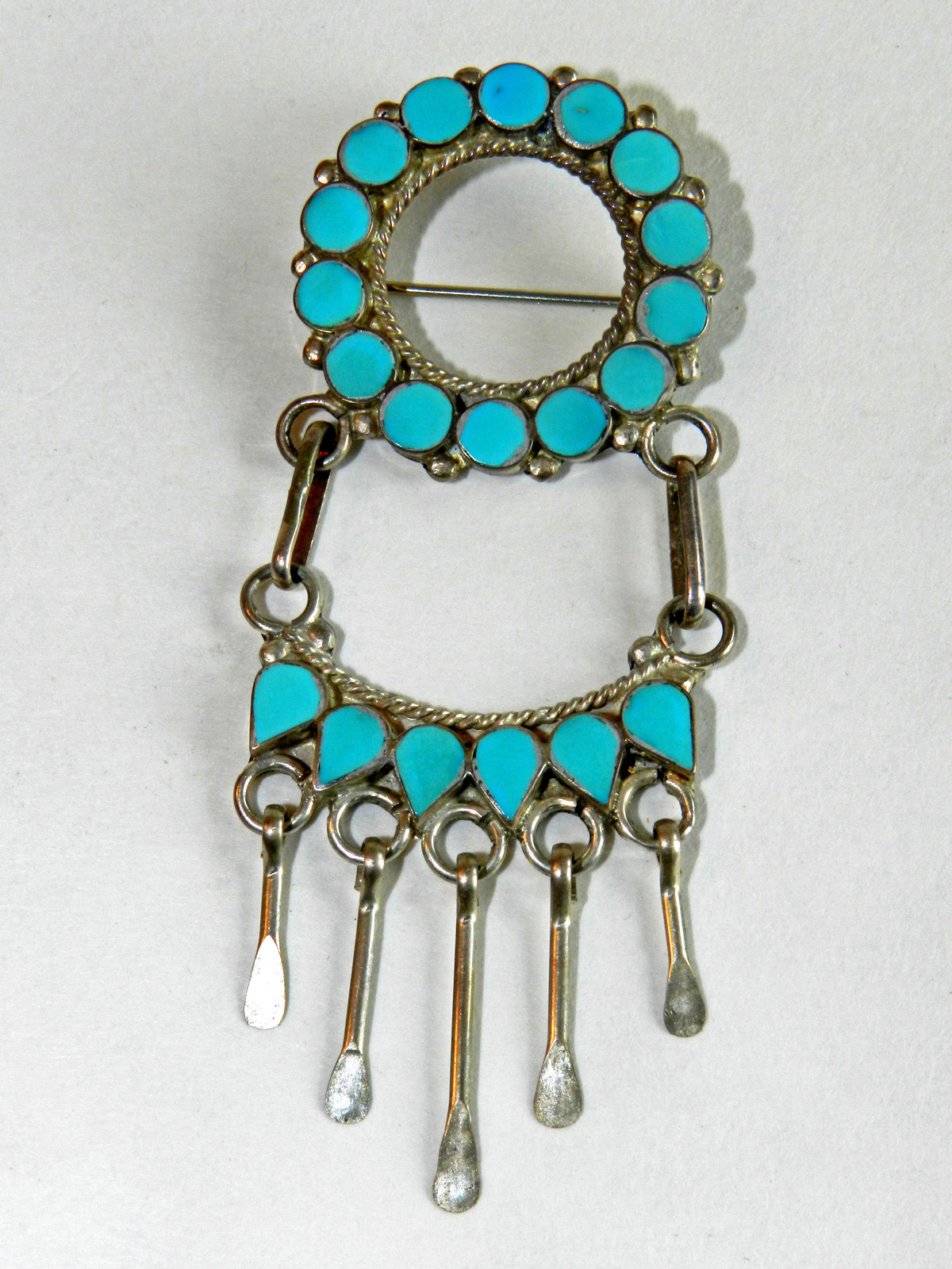 Turquoise & Silver-Tone Native American-Made Brooch/Pin/Fashion Accessory