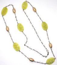 Necklace Silver 925, Ovals Pink, Jasper Green Wavy, Length 105 CM image 3