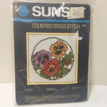 "Pansies Cross Stitch Kit Sunset 5"" x 5"" Flowers - $9.74"