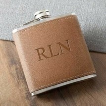 Engraved Tan Hide-Stitch Flask 6oz Engraved Flask Gifts Personalized Gifts - $23.78