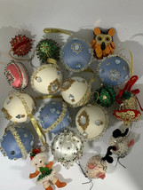 Lot 18 Vtg  Sequin Ornament Christmas Beaded Push Pin Handmade Mid-Centu... - $79.43