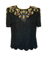 80s DENISE ELLE 100% Silk Peacock Eye Beaded Sequin Evening Occasion Par... - $37.00