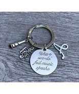 Personalized Music Keychain Gift with Letter Charm - Musically Keychain-... - $15.00