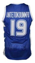 Giannis Antetokounmpo #19 Greece Basketball Jersey New Sewn Blue Any Size image 2