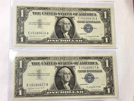 LOT OF x2 - $1 1957 A SILVER CERTIFICATE CONSECUTIVE PAIR CHOICE UNC Con... - $26.71