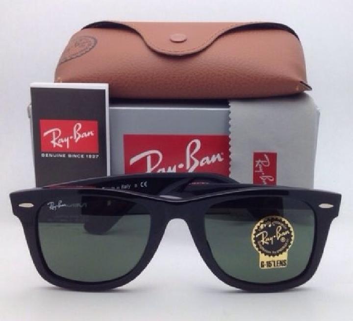 ban new ray ban wayfarer sunglasses rb 2140 f 901 52 22 black frame w green lenses 14207974 4 0