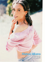 Alyssa Milano teen magazine pinup clipping cute pink sweater side profile