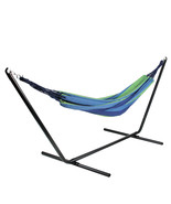 "Northlight 59"" x 78"" Royal Blue and Lime Green Striped Poly Cotton Hammock - $109.40"