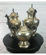 Lot Of 3 Vintage Silver on Copper Tilt Tea Pot or Coffee  Stand & Sterno... - $449.99