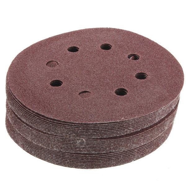"30pcs 8 Hole 5 "" Inch Hook and Loop Sanding Discs 80 Grit Sandpaper Circular Pad"
